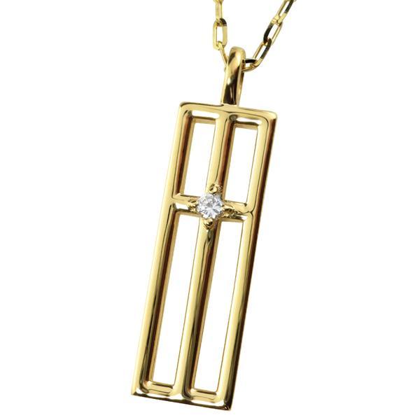 メンズネックレス ゴールド 18金 K18  クロスデザイン ダイヤモンド ペンダント アズキチェーン 50cm バレンタインデー プレゼント ギフト