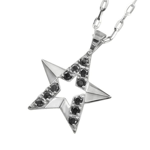 メンズネックレス ゴールド 18金 K18  スター デザイン ブラックダイヤモンド 星 ペンダント アズキチェーン 50cm バレンタインデー プレゼント ギフト
