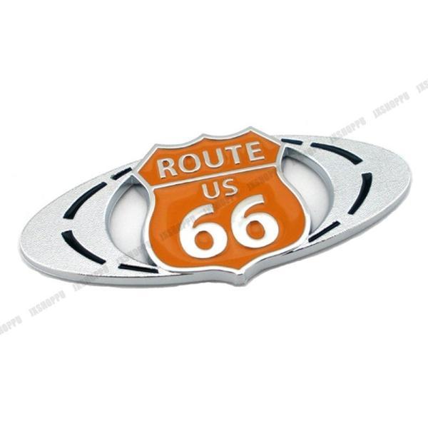 ROUTE US66 エンブレム ステッカー ロゴ オレンジ 橙色 メタル 立体 ルート カスタム パーツ ドレスアップ