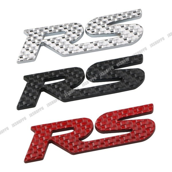 RS エンブレム ステッカー カーボン調 ロゴ メタル 立体 3D 英語 アルファベット デカール カスタム パーツ ドレスアップ カー用品 外装