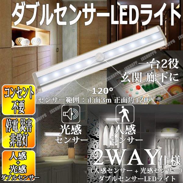 人感センサー + 光感センサー ダブルセンサーLEDライト 自動点灯 自動消灯 玄関 屋内 廊下 階段 照明器具 簡単取付 長持ち