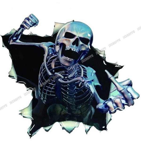 スカル ステッカー エンブレム 飛び出す ドクロ リアル シール 骸骨 デカール ドレスアップ カー用品 車用品