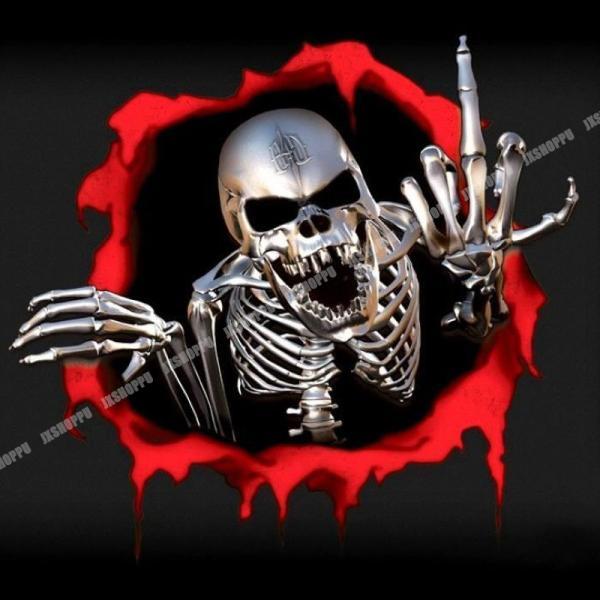 スカル ステッカー エンブレム 飛び出す ドクロ リアル シール 骸骨 ドレスアップ カー用品 車用品