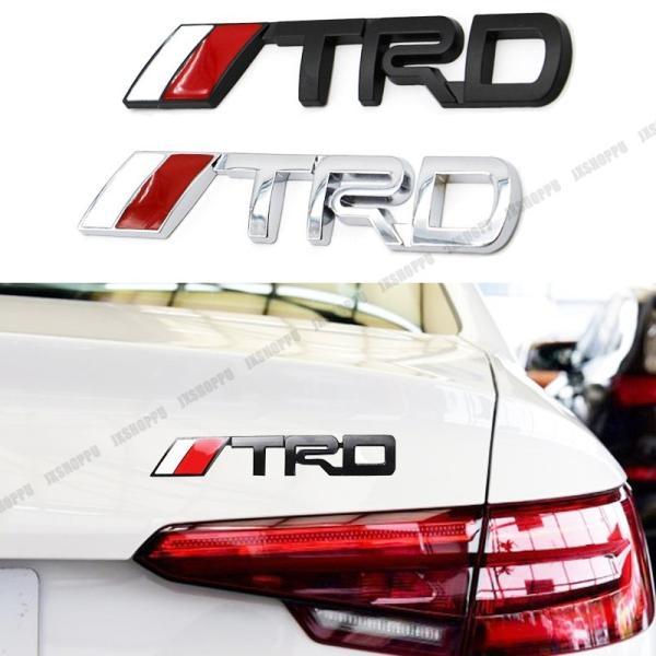 TRD エンブレム ステッカー ロゴ シルバー メタル 立体 3D TOYOTA カスタム パーツ ドレスアップ カー用品 外装