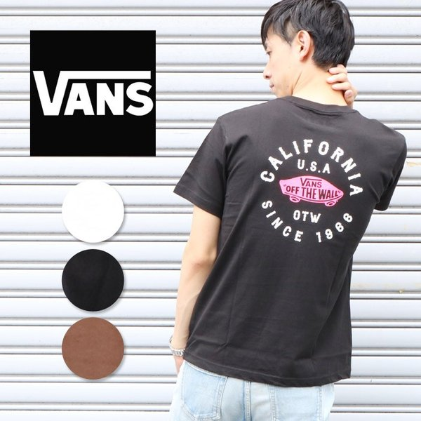 VANS ヴァンズ バンズ Tシャツ オフザウォール バンズロゴ スケートロゴ カリフォルニア バックプリント 半袖 ロゴ VA18HS-MT19 メンズ プリントTシャツ|jxt-style