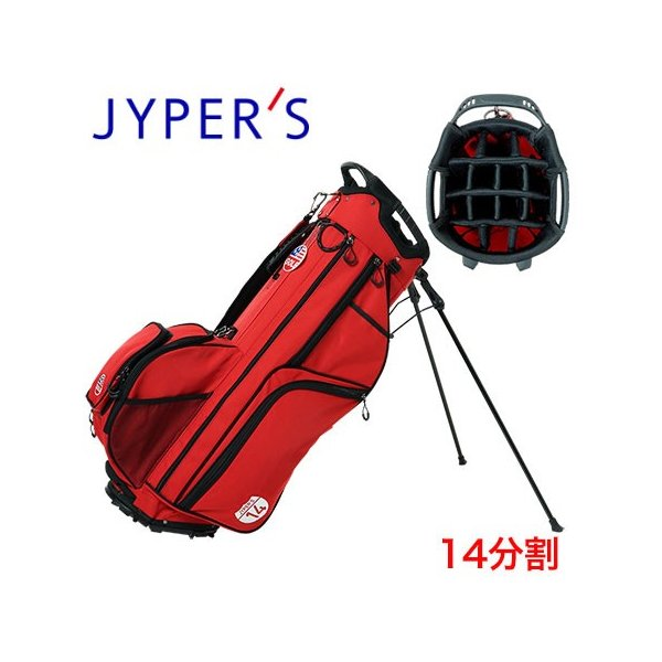 ジーパーズ 14分割スタンドキャディバッグ 9.5型 JYPEH002 レッド 2020年モデル