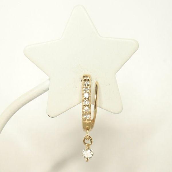 ダイヤモンドピアス K18YGイエローゴールド トータル0.140カラット フープピアス 揺れる 一粒ダイヤピアス