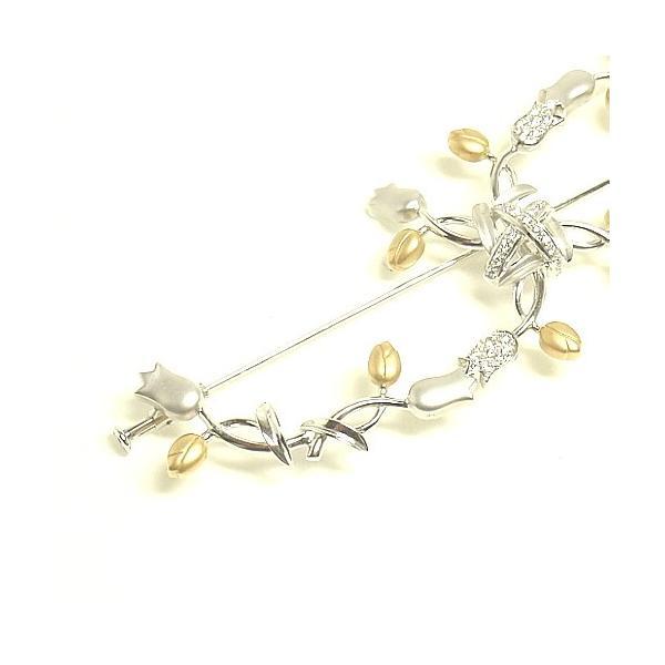 ダイヤモンドブローチ K18WG/K18YG ホワイトゴールド/イエローゴールド フラワーブローチ チューリップブローチ お花