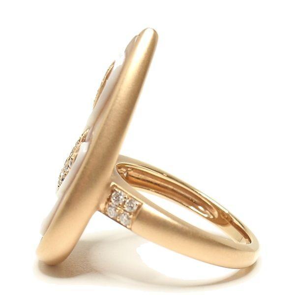 シェルカメオリング K18PGピンクゴールド ト音記号リング 音符指輪 シンプル 天使 アンティーク