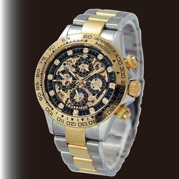 英国デザイン 多機能スケルトン時計 ブラック|k-1ba