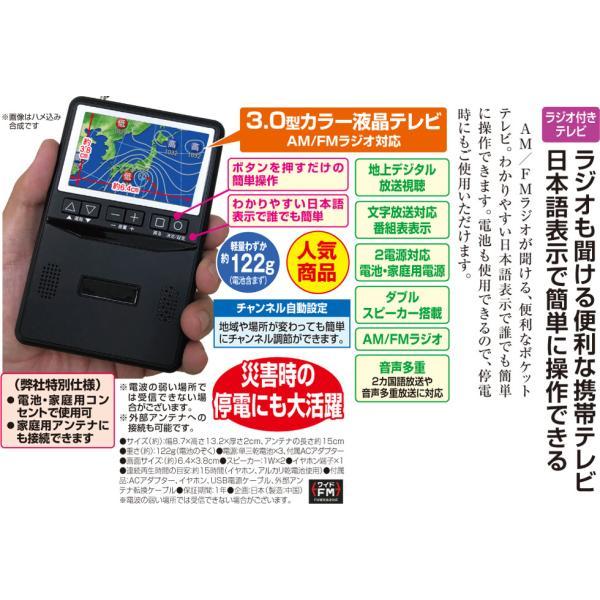 ポケットに入るテレビ付ラジオ 便利なテレビ付きラジオ AM FM ワンセグTV 電池 屋外 持ち運び 地震 停電 非常 避難 - 熟年時代 k-1ba 02