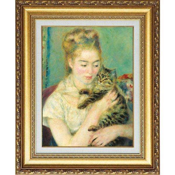 ルノワール 複製名画 「猫を抱く女性」 美術品 絵画 - アートの友社|k-1ba
