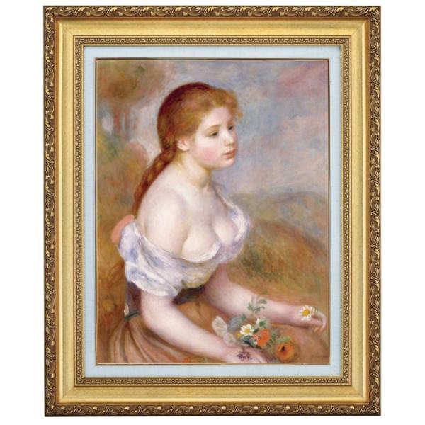 ルノワール 雛菊を持った若い娘 F10号 立体複製名画 美術品 レプリカ - アートの友社 k-1ba