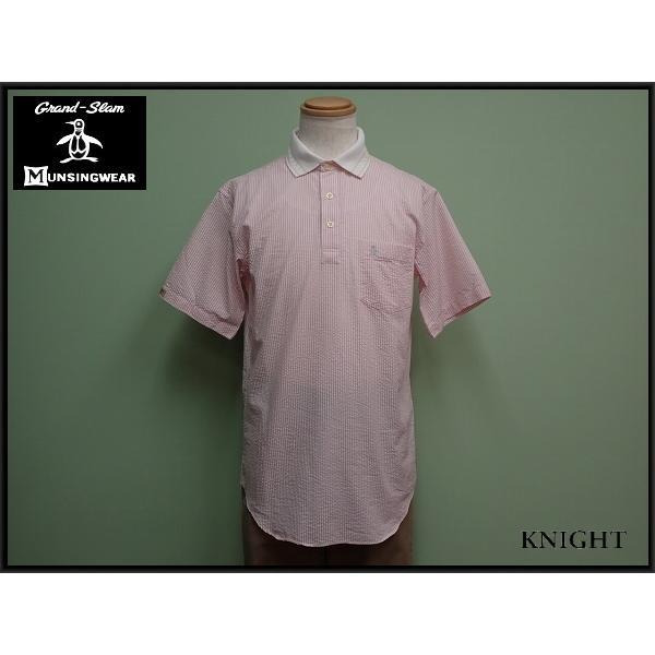 Munsingwearシャツ・M マンシングウェア/グランドスラム/プルオーバー/ストライプ/ゴルフ/21*3*2-9