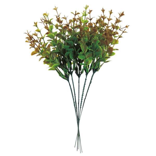 6個から注文可能!人工観葉植物 フェイクグリーン 観葉植物 造花 ユーカリ 5本1セット 赤 25cm インテリア おしゃれ CT触媒 消臭 抗菌