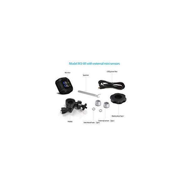 TPMS タイヤ 空気圧監視モニター ワイヤレス センサー (2個)オートバイ用 防水 k-havens 08