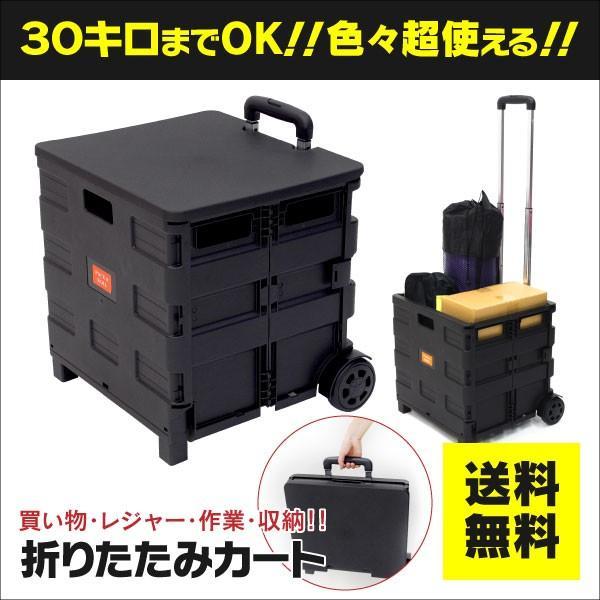 (予約販売)ふた付き 折りたたみキャリーカート キャスター付き レジャー アウトドア 普段のお買い物に 最大積載量:30kg 容量約41L ブラック