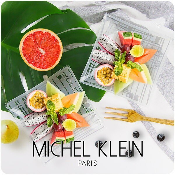 MICHEL KLEIN 軽量 スクエア ガラスプレート 小 13.8cm 洋食器 白い食器 四角 角皿 お皿 プレート 小皿 取り皿 銘々皿 ケーキ皿 カフェ風 軽い おしゃれ モダン|k-s-kitchen