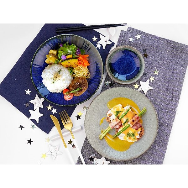 【選べる2色】 大皿 22.2cm 7寸皿 ネプチューン&ウラヌス 日本製 美濃焼 陶器 和食器 お皿 ディナープレート パスタ皿 ブルー グレー カフェ おしゃれ 北欧風 k-s-kitchen 13