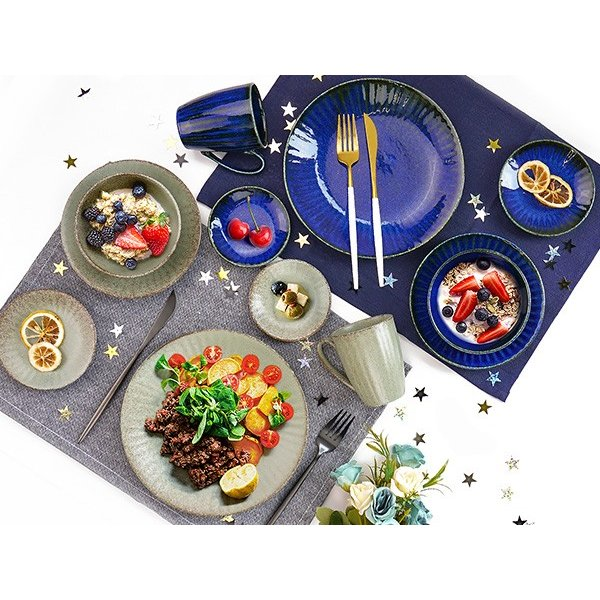 【選べる2色】 大皿 22.2cm 7寸皿 ネプチューン&ウラヌス 日本製 美濃焼 陶器 和食器 お皿 ディナープレート パスタ皿 ブルー グレー カフェ おしゃれ 北欧風 k-s-kitchen 16