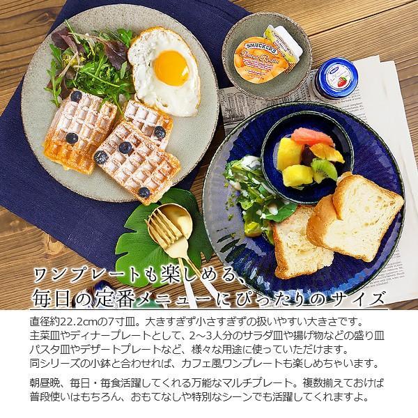 【選べる2色】 大皿 22.2cm 7寸皿 ネプチューン&ウラヌス 日本製 美濃焼 陶器 和食器 お皿 ディナープレート パスタ皿 ブルー グレー カフェ おしゃれ 北欧風 k-s-kitchen 04