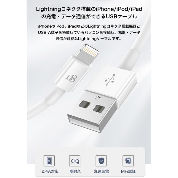 ライトニングケーブル Apple認証 Lightningケーブル MFi認証 iPhone XS iPhone XR ケーブル 純正品質 急速充電 1m iPod Pad データ転送 ナイロン製 アルミ端子|k-seiwa-shop|02