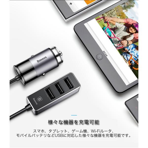 カーチャージャー アルミ製 車用 iPhoneXS Max iPhoneXR 充電器 コンパクト USBボート 4台同時充電 出力最大5.5A スマートIC機能 急速充電|k-seiwa-shop|11