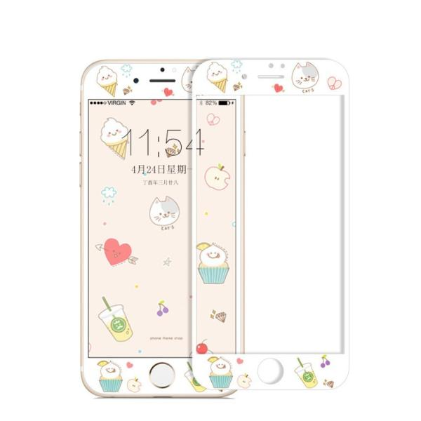 iPhone8 Plus ガラスフィルム 全面 iPhone7Plus 7 8 強化ガラスフィルム iPhone6s Plus 6 Plus 6s 6 ガラスフィルム 3D 耐衝撃 猫柄 9H かわいい 指紋防止|k-seiwa-shop|09