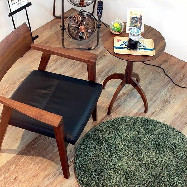 サイドテーブル ウォールナット 007 カフェ テーブル 北欧 風 おしゃれ 丸 高さ60cm cafe かっこいい 円形 木製テーブル 完成品 送料無料|k-style|02