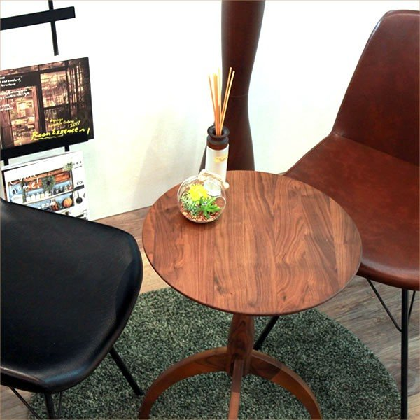 サイドテーブル ウォールナット 007 カフェ テーブル 北欧 風 おしゃれ 丸 高さ60cm cafe かっこいい 円形 木製テーブル 完成品 送料無料|k-style|04