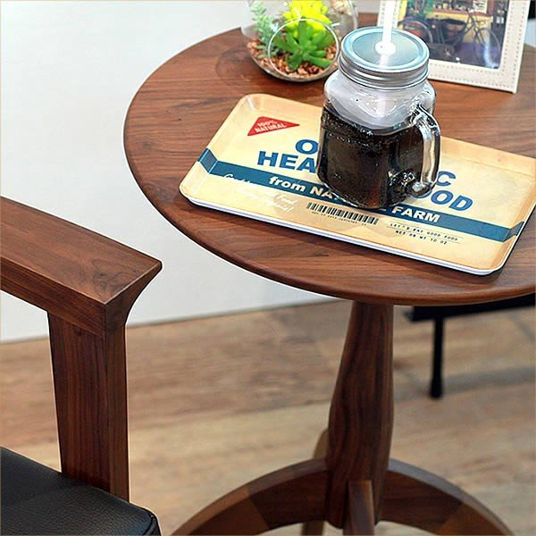 サイドテーブル ウォールナット 007 カフェ テーブル 北欧 風 おしゃれ 丸 高さ60cm cafe かっこいい 円形 木製テーブル 完成品 送料無料|k-style|05
