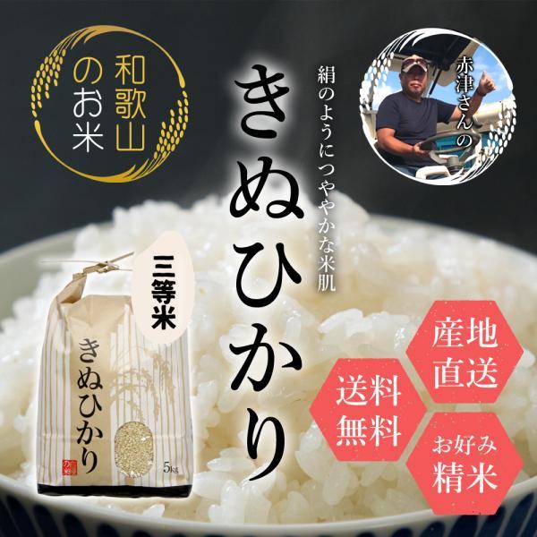 米 特価 和歌山県産 赤津直基さんのキヌヒカリ 3等米 5kg 10kg 30kg 白米から分づきまで美しくおいしい精米 送料無料