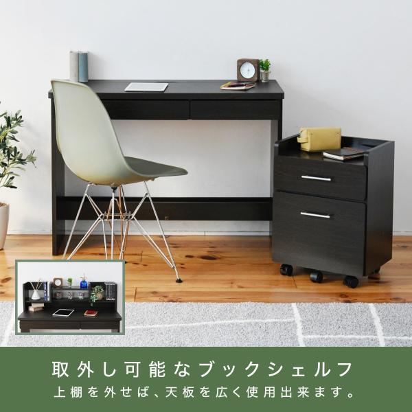 デスク 棚付き ワゴン セット ブラウン ブックシェルフ 付き 幅100 収納 勉強机 デスク 机 子ども 学習机 キャスター付き チェスト|k3-furniture|13