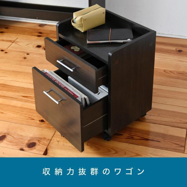 デスク 棚付き ワゴン セット ブラウン ブックシェルフ 付き 幅100 収納 勉強机 デスク 机 子ども 学習机 キャスター付き チェスト|k3-furniture|18