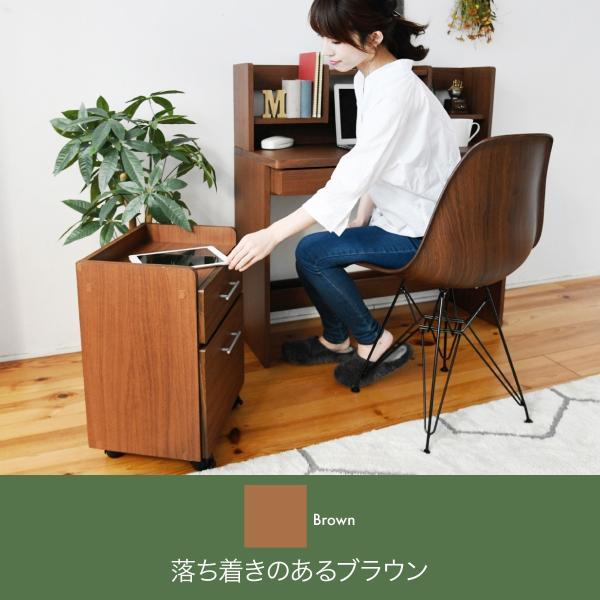 デスク 棚付き ワゴン セット ブラウン ブックシェルフ 付き 幅100 収納 勉強机 デスク 机 子ども 学習机 キャスター付き チェスト|k3-furniture|04