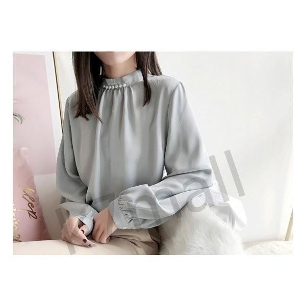 春服 レディース トップス ハイネック 上品 ブラウス シャツ パフスリーブ パール|k7mall|05