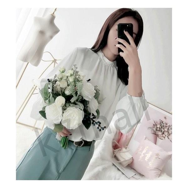 春服 レディース トップス ハイネック 上品 ブラウス シャツ パフスリーブ パール|k7mall|07