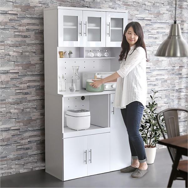 食器棚 鏡面 レンジ台 レンジボード キッチン 開き戸 キッチンボード 幅90  YOG|ka-grande|05