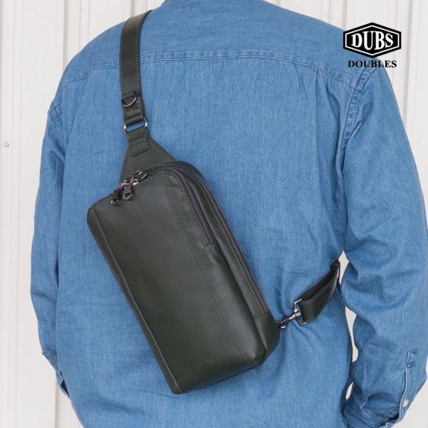 ボディバッグメンズ50代40代DOUBLESバッグショルダーバッグ革本革ブランドダブルス小さめJVA-7424