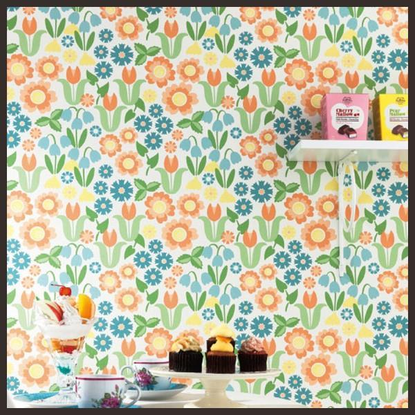RoomClip商品情報 - 壁紙 のりなし クロス 国産壁紙 ポップ 花柄 フラワー 防かび シンコール BB-8843