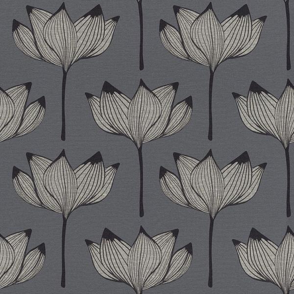 切売 壁紙 輸入壁紙 rasch2020 530926 (Onszelf most fabulous) 日本 和風 和柄 ジャパネスク 植物 花 シルバー