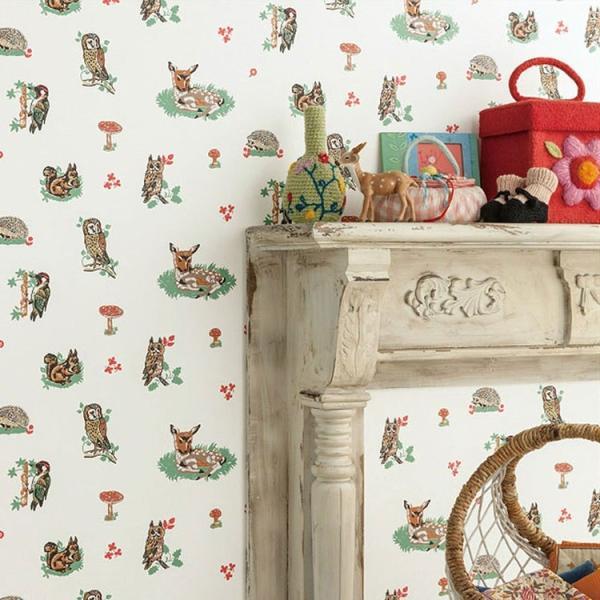 ナタリー・レテ Nathalie Lete 壁紙 張り替え のりなし 1m単位 切り売り クロス シンコール SBB-1795 動物 アニマル 小鹿 バンビ