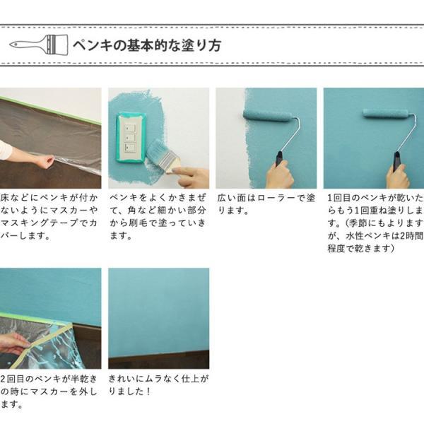 ペンキ 水性塗料 ペイントラボ トレンドカラーズ 4L 道具セット 深緑 カーキ 黒 ネイビー グレー 黄色 イエロー 赤 ティファニーブルー 水色 ブルー|kabegamiya-honpo|17
