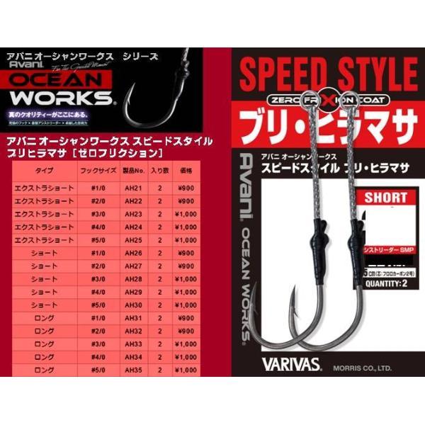 ※5枚セット バリバス  アバニ オーシャンワークス スピードスタイル ブリ・ヒラマサ ショート 1/0   VARIVAS  4513498094193