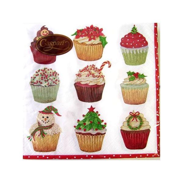 ペーパーナプキン[メール便OK] ●カクテルサイズ●クリスマスカップケーキCaspariby Carolyn Bucha