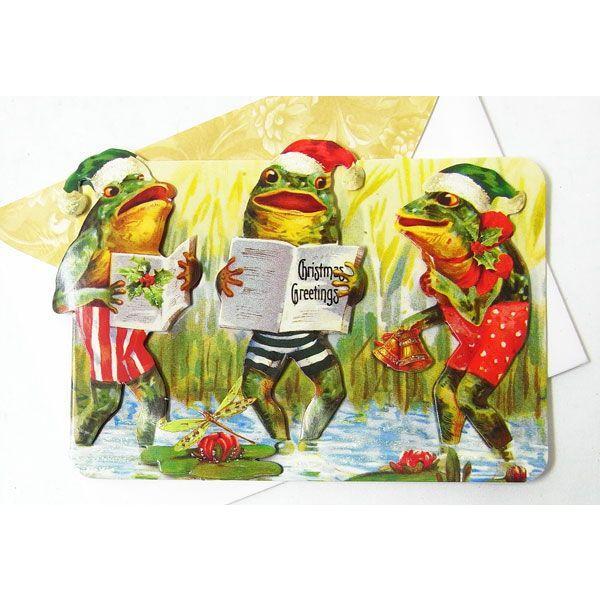 [Punch Studio]無地カード S シンギング フロッグ★デザイン封筒付き★ パンチスタジオ2012クリスマスコレクション・立体メッセージカード蛙・かえる・カエル