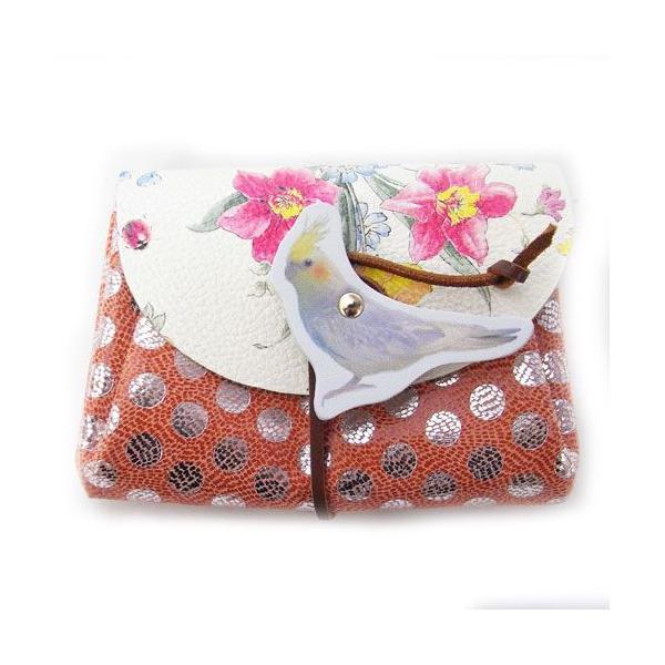 レザーミニウォレット オカメインコ [carmine]日本製・財布インコ・ドット・鳥