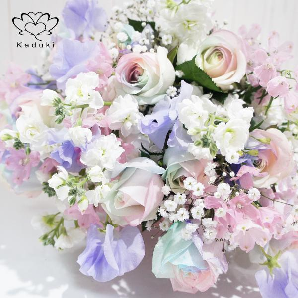 レインボーローズ ピュアパステル 12本 と 季節 の 花束 フラワーギフト 生花 虹 バラ 安心のメーカー直販