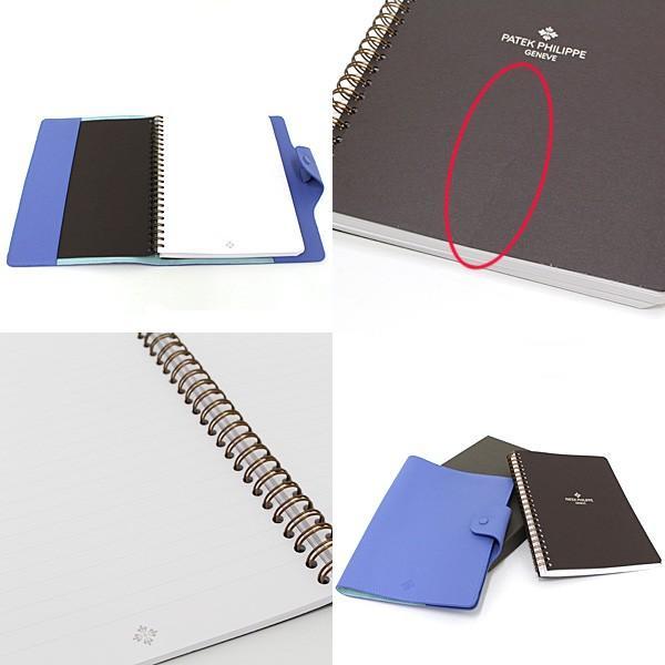 パテックフィリップ PATEK PHILIPPE ノートカバー 手帳カバー ブルー レザー A5サイズノート(横罫線)付属 未使用品|kadusaya78|03