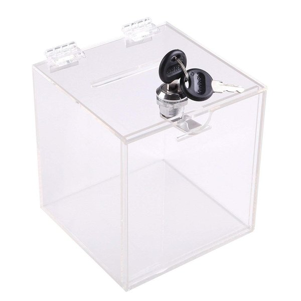Aoakua アクリル 鍵付き 貯金箱 募金箱 チャリティーBOX W12cmクリア|kaedenomori
